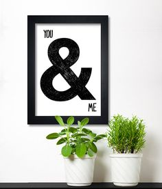 Ampersand  black and white poster, typography print, romantic gift - you and me via Etsy