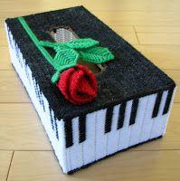 music tissue box cover plastic canvas.