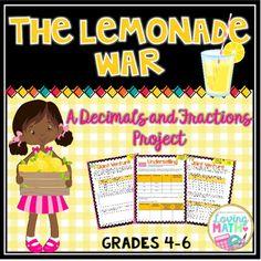 "Decimals and Fractions Math Project ""The Lemonade War"" PBL"