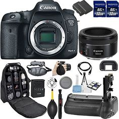 Canon EOS 7D Mark II DSLR Camera Kit Includes 2Pcs 32GB Commander MemoryCard  Battery Grip  Extra Battery  Backpack Case  Grip Strap  Air Blower  Cleaning Kit 2 50mm Kit -- Check out the image by visiting the link.