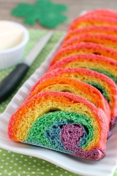 RAINBOW BREAD!  It's so bright and cheery and perfect for St. Patrick's Day!