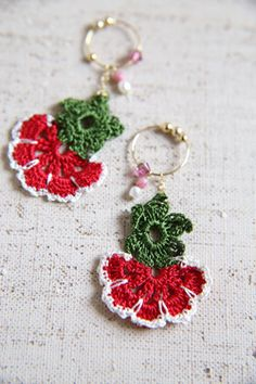 oya crochet earrings Thread Crochet, Knit Crochet, Leis, Crochet Accessories, Crochet Flowers, Handicraft, Needlework, Diy And Crafts, Jewelery