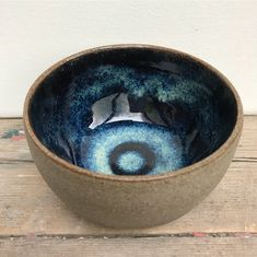 Dang, that's nice. From triskelpottery IG: Glazed with Amaco potter's choice blue rutile (2x) over temmoku (2x). The outside is unglazed and polished before firing