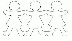 Paper Doll Chain Template from category. Find out more nice pics to color for your children Paper Doll Chain, Paper Chains, Paper Doll Template, Paper Dolls Printable, Diy Paper, Paper Art, Hand Crafts For Kids, Stencil, Coloring Sheets For Kids