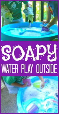 Soapy Water Play Outside -- Hours of fun with some warm water, dish soap, and a few kitchen utensils!  Science, pretend play, sensory play, and lots of FUN!
