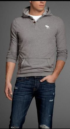 Abercrombie and Fitch Mens Hoodie T in Heather Gray