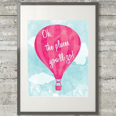 Nursery- Oh The Places You'll Go Printable Dr. Seuss Poster by PrintsAndPrintables, $5.00