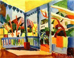 August Macke - Terrasse des Landhauses in St.Germain