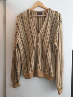 Vintage Mens Cardigan 1960s Pendleton Wool Striped by retrocorrect