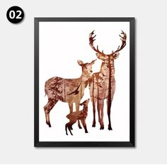 Silhouette of Deer Family with Pine Forest Canvas Art Print Painting Poster, Wall Picture for Home Decoration, Home Decor YT0066