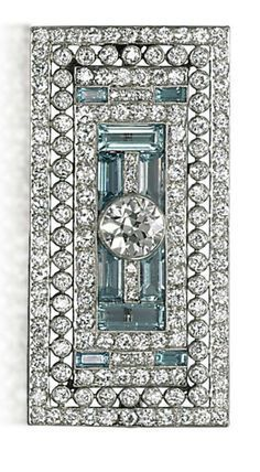 Vintage Jewelry 1920 AN ART DECO AQUAMARINE AND DIAMOND BROOCH The openwork rectangular plaque set with circular-cut diamonds, centering upon a larger diamond collet, with baguette-cut aquamarine detail, cm, with French assay mark for platinum - Bijoux Art Deco, Art Deco Jewelry, Fine Jewelry, Jewelry Design, Jewelry Supplies, Jewelry Ideas, Jewelry Box, Aquamarine Jewelry, Sterling Silver Jewelry