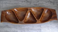 """Wooden 5 Section Bowl Serving Display MCM 22"""" Wood Tray Tiki Table Centerpiece"""