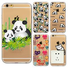 Cute Cartoon Animal Panda Cat Bear Case For Iphone SE 5 5S 4 4s 5C 6 6S Plus Transparent Silicone Phone Back Cover Coque
