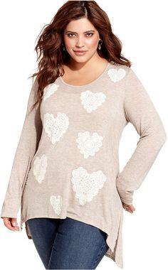 American Rag Plus Size Top, Long-Sleeve Heart-Print High-Low Tunic