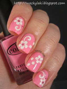 My hawaiian plumeria flower nail art over fuchsia nails pink 50 most beautiful pink and white nails designs ideas you wish to try prinsesfo Image collections