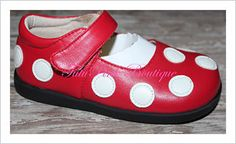TutuPink Red with White Dots Mary Jane Style Non Squeaky Toddler Shoe