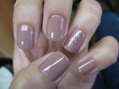 Nude nails with glitter, simple, but nice - LadyStyle