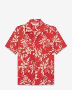 c4a023bd Classic Hawaiian Shirt in Red and Ivory Hawaiian Hibiscus Printed Viscose  and Cotton