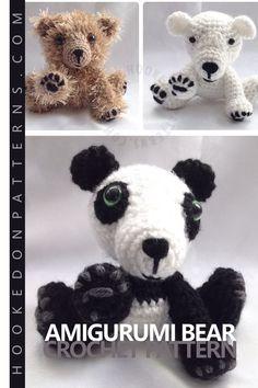 Mei the Panda & Friends Crochet Pattern by Hooked On Patterns. A cute little sitting bear amigurumi crochet pattern. Love Crochet, Crochet Gifts, Crochet For Kids, Crochet Baby, Panda Bears, Polar Bears, Teddy Bears, Diy Crafts For Kids, Gifts For Kids