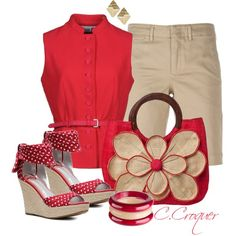 Polka Dots Shoes in Red, created by ccroquer on Polyvore