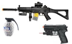 Electric SIG 552 Assault Rifle FPS-250 w/ Red Dot Sight, Laser, Flashlight Airsoft Gun + Flashlight, Laser, Spring Pistol 180-FPS + 800 Count High Quality Grenade BB's by package deals airsoft guns. $64.99