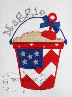 4th of July Flag Sand Pail Embroidery Design Applique.