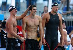 Ryan Lochte, Michael Phelps and Matthew Grevers