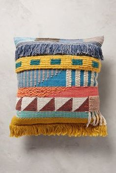 Anthropologie Hand-Embroidered Kala Pillow; $128. This would be adorable on a recovered RV bench or sofa! #anthrofave