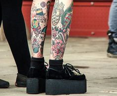 shoes cool rock tatto colors grunge platform girl nowlovers