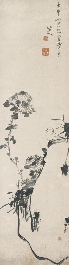 Bada Shanren 1626-1705 BIRD AND CHRYSANTHEMUM. 八大山人 1626-1705 孤雀菊石 款識:壬申(1692)七月既望,涉事,八大山人。鈐印:「可得神仙」、「八大山人」、「十得」 水墨紙本 立軸 118.1 by 31 cm. 46 1/2 by 12 1/4 in.