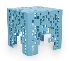 Tetris Esta divertida mesa lateral foi inspirada em um jogo eletrônico popular de 1984 − um quebra-cabeça virtual, como se, de um bloco, fossem extraídos diversos quadrados de mesmo tamanho. O intrigante efeito vazado que a caracteriza é enriquecido por dezenas de opções de cores de microtextura. #RejaneCarvalhoLeite #brazilsa2015 #milan #milano #designweek2015