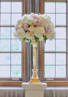 The Guestbook Table Will Feature A Gold Compote Vase