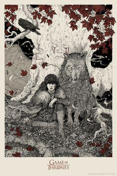 Bran Stark, A Game of Thrones Poster Design by Richey Beckett illustration Art Game Of Thrones, Dessin Game Of Thrones, Game Of Thrones Poster, Art And Illustration, Illustration Children, Art Magique, Instalation Art, Screen Printing, Fantasy Art