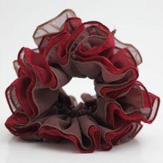 Sheer Chiffon Two Color Mix Elastic Band Hair Scrunchies  #Handmade