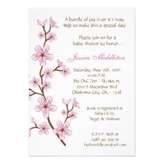 20 best cherry blossom baby shower invitations images on pinterest 5x7 pink cherry blossom baby shower invitation filmwisefo