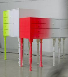 Classic Furniture Meets Bright Neon Colours: The Eclectic Squid Cabinet