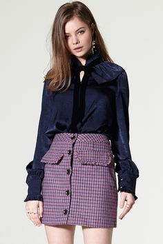 Mena Button Check Skirt Discover the latest fashion trends online at storets.com