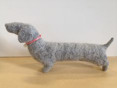 felted dachshund by Charlotte Hall  look at the cute little button on the collar!  www.charlottehall...