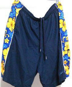 Speedo Men's Swim Shorts Trunks Mesh lined Floral Elastic Drawstring Waist Sz L #Speedo #Trunks