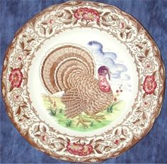 Colorful turkey plate & CLARICE CLIFF ROYAL STAFFORDSHIRE TURKEY PLATE England Transferware ...