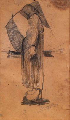 """Lorenzo Viani. Viareggio (Lu) 1882 - Ostia (Roma), """"Donna e barca"""", 1936 . Carboncino su carta, cm. 61,5x36,5 Firma in basso a destra: Lorenzo Viani. Casa d'aste Farsettiarte"""