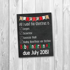 A fun and creative way to announce your big news this Christmas ;) Perfect for future big sister or brother to hold! You will receive a high