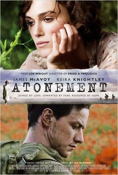 Atonement by Ian McEwan. The film stars James McAvoy, Keira Knightley, and Saoirse Ronan. Ian Mcewan, Streaming Movies, Hd Movies, Movies Online, Movies And Tv Shows, Hd Streaming, Saddest Movies, Watch Movies, Beau Film