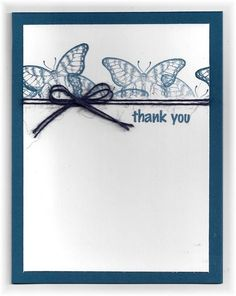 card by Scrappin' and Stampin' in GJ - I masked off the line where I wanted to put the twine so the stamped butterflies wouldn't go below that line. Butterflies are from SU.