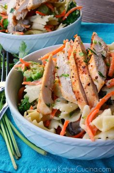 Grilled Italian Chicken with Veggies & Bow Tie Pasta from KatiesCucina.com
