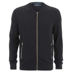 Paul Smith Jeans Men's Track Wool Zip Jacket - Black ($255) ❤ liked on Polyvore featuring men's fashion, men's clothing and black