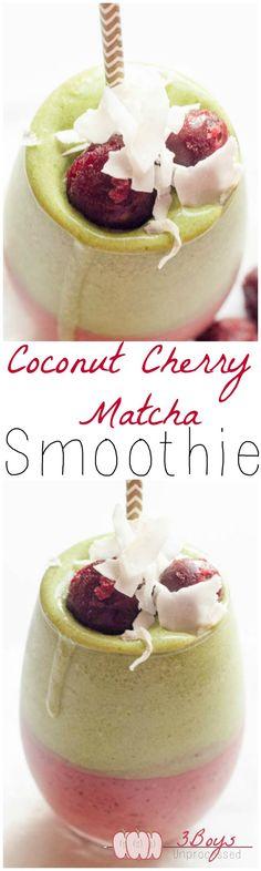 Coconut Cherry Matcha Smoothie #dairyfree #vegan #smoothies || www.3boysunprocessed.com