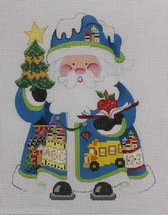 Strictly Christmas Back to School Santa Claus Hand Painted Needlepoint Canvas   eBay  $51