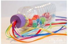 RAINBOW SENSORY BOTTLES A bright and colourful sensory play activity and a musical instrument too. Great fun for all ages RAINBOW SENSORY BOTTLES A bright and colourful sensory play activity and a musical instrument too. Great fun for all ages. Rainbow Sensory Bottles, Edible Sensory Play, Baby Sensory Play, Sensory Activities Toddlers, Baby Play, Infant Activities, Diy Sensory Toys, Preschool Toys, Activities For Babies Under One