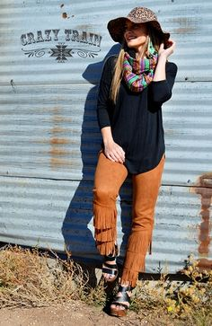 95fcc30843 Rust Fringe Forever Pants by Crazy Train Clothing. Red Vine Boutique